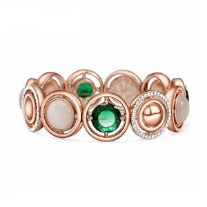 Fashion Rose Golden Plated Bracelet with White Opal and Austrian Element Crystal