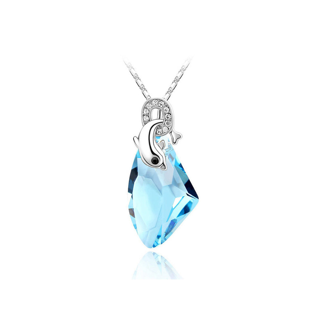 Lovely Dolphin Pendants with Blue Austria Element Crystal and Necklace