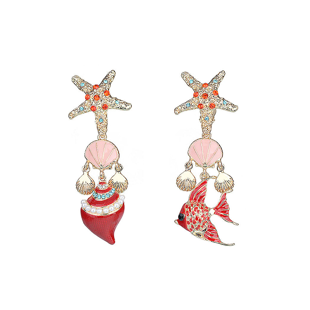 Fashion Con Chan's Fish Asymmetric Non Piercing Earrings with Multi-colored Austrian Element Crystal