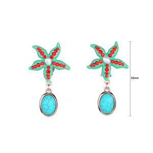 Fashion Star Fish Non Piercing Earrings with Red Austrian Element Crystal