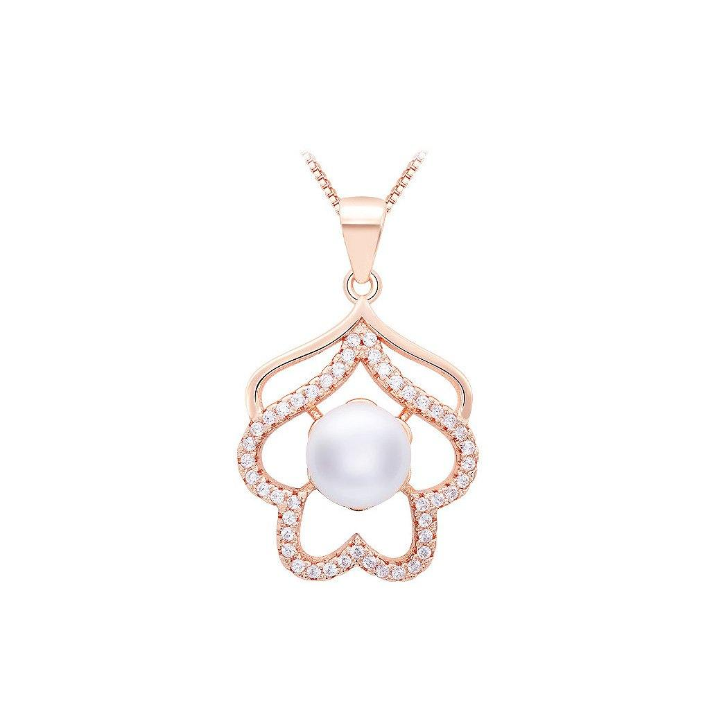 925 Rose Golden Plated Pendant with White Cubic Zircon and Necklace