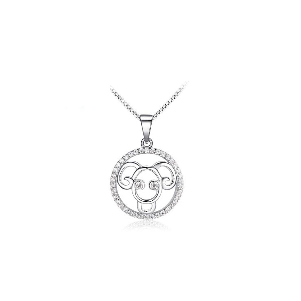 Fashion 925 Sterling Silver Aries Pendant with White Cubic Zircon and Necklace