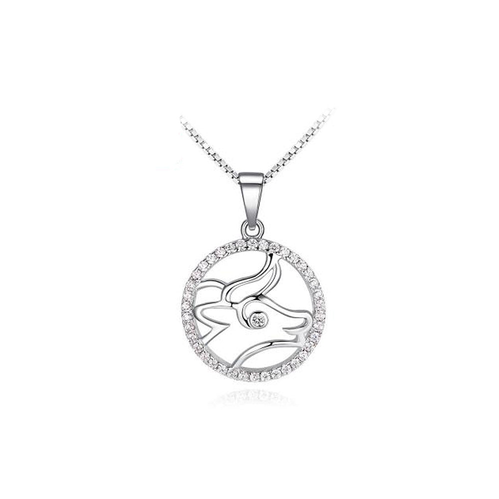 Fashion 925 Sterling Silver Taurus Pendant with White Cubic Zircon and Necklace
