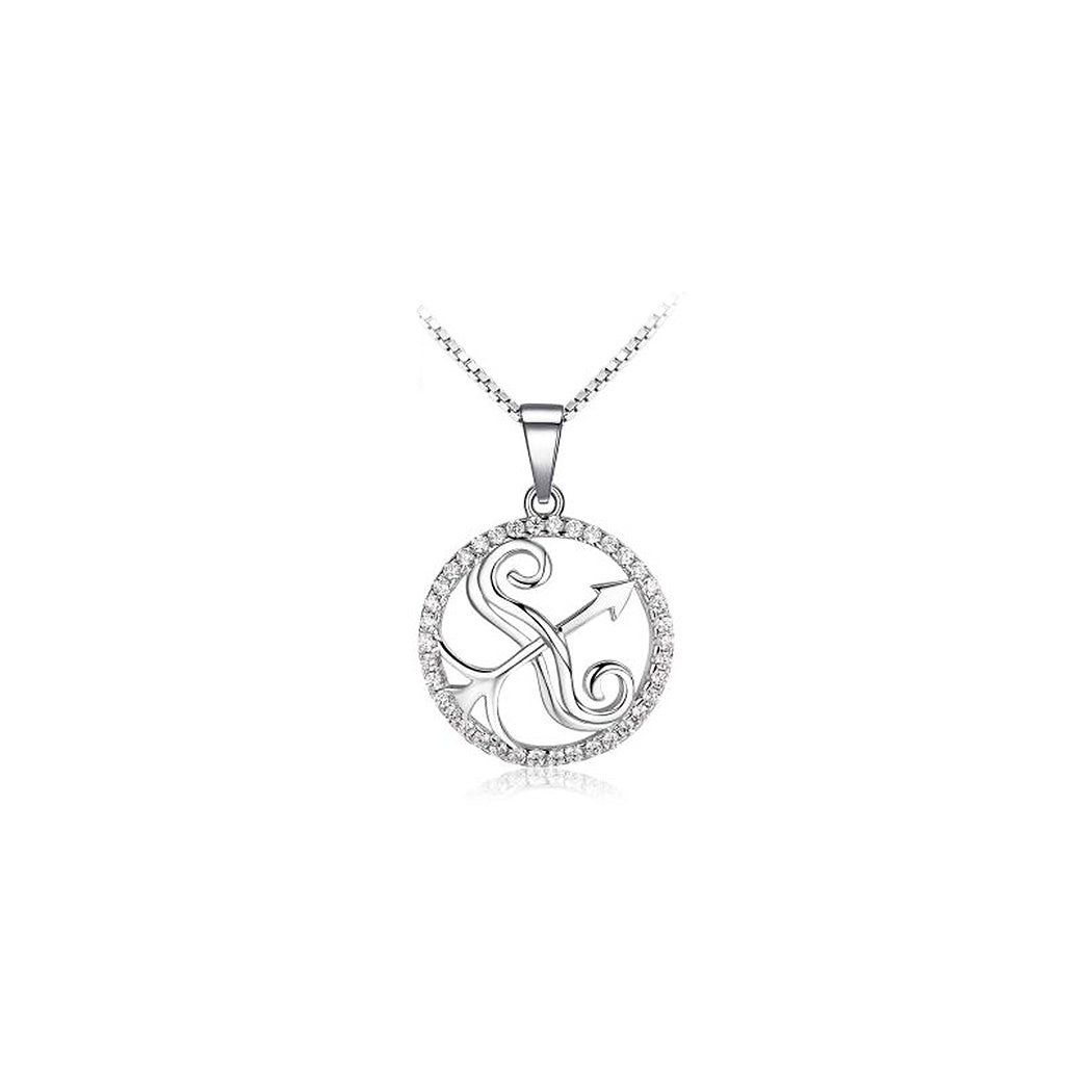 Fashion 925 Sterling Silver Sagittarius Pendant with White Cubic Zircon and Necklace