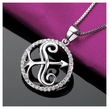 Load image into Gallery viewer, Fashion 925 Sterling Silver Sagittarius Pendant with White Cubic Zircon and Necklace