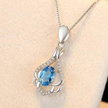 Load image into Gallery viewer, Fashion 925 Sterling Silver Pendant with Blue Cubic Zircon and Necklace