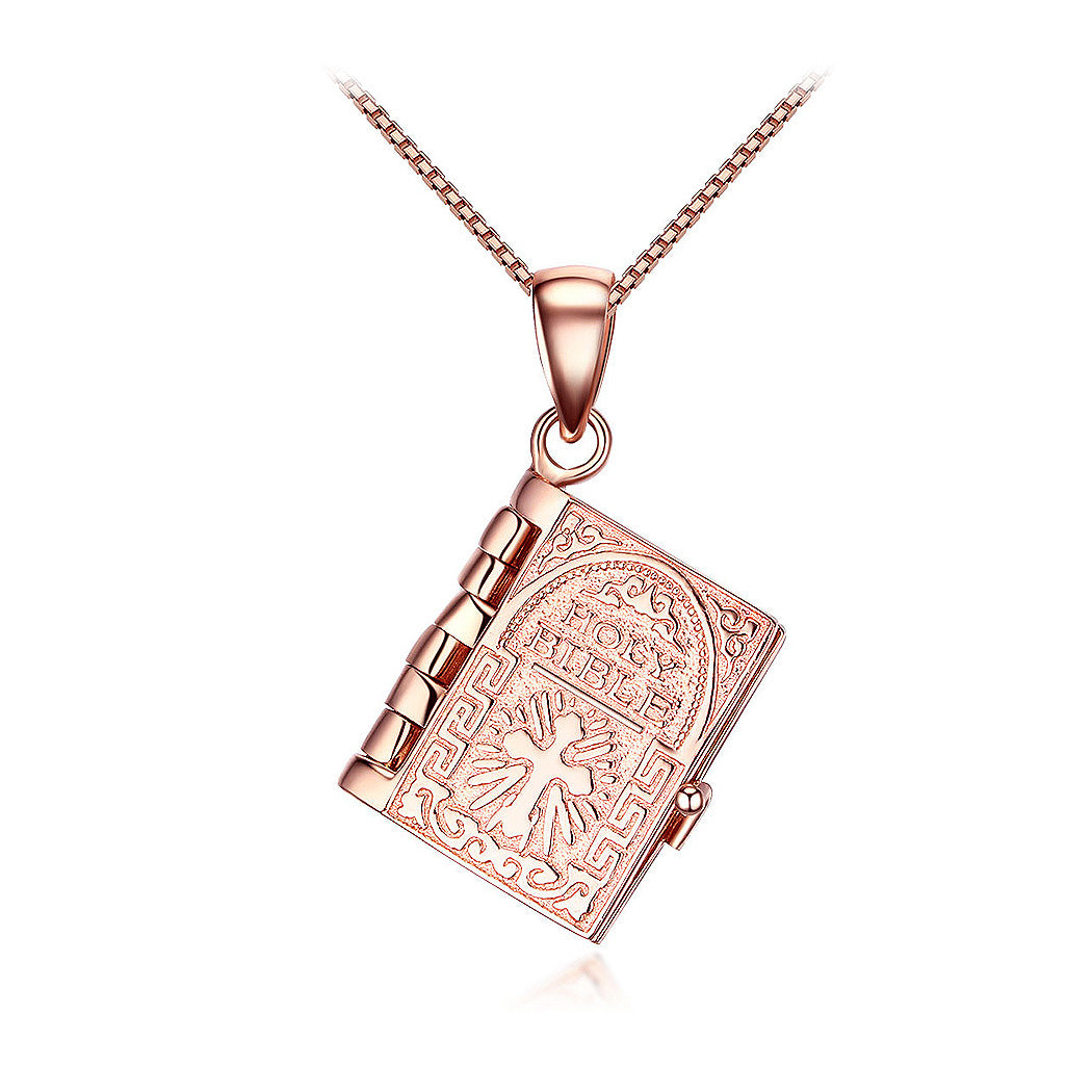 Fashion 925 Rose Golden Plated Bible Pendant and Necklace