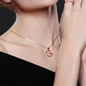 Fashion 925 Rose Golden Plated Pendant with White Austrian Element Crystal and Necklace