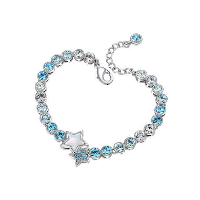 Fashion Star Bracelet with Blue Austrian Elements Crystal
