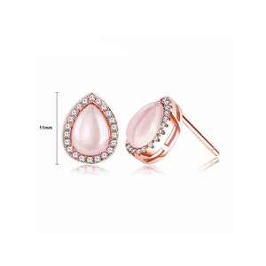 Simple 925 Sterling Silver Rose Golden Plated Water Drop Stub Earrings with Rose Quartz and White Austrian Elements Crystal