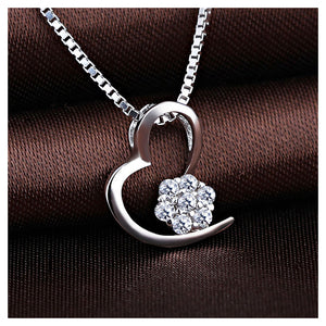 Simple 925 Sterling Silver Heart-shaped Pendant with White Austrian Elements Crystal and Necklace