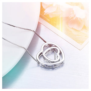 Fashion 925 Sterling Silver Hollow Heart-shaped Pendant and Necklace
