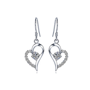 Flashing 925 Sterling Silver Heart-shaped Earrings with White Cubic Zircon