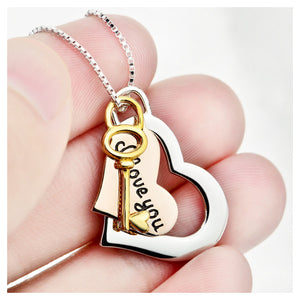 Fashion 925 Sterling Silver Heart-shaped and Key Pendant with Necklace