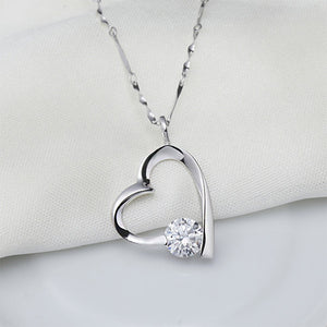 Simple 925 Sterling Silver Heart-shaped Pendant with White Cubic Zircon and Necklace