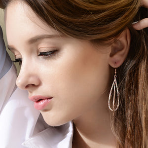 Fashion Gold Earrings with White Austrian Element Crystals