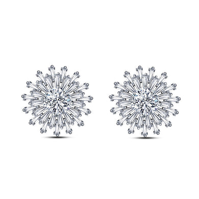Fashion Snowflake Earrings with White Cubic Zircon