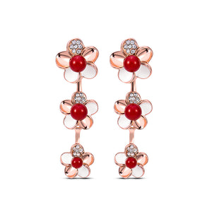 Fashion Flower Plated Rose Gold Earrings with White Cubic Zircon and Red Fashion Pearls