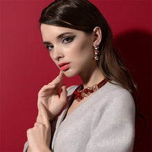 Load image into Gallery viewer, Fashion Flower Plated Rose Gold Earrings with White Cubic Zircon and Red Fashion Pearls