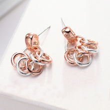 Load image into Gallery viewer, Simple Plated Rose Gold Multiple Circle Earrings