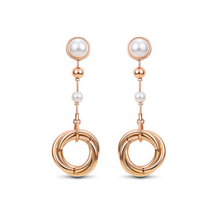 Temperament Ring Earrings with White Fashion Pearls