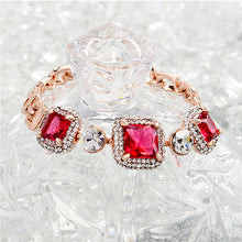 Load image into Gallery viewer, Luxurious Plated Rose Golden Bracelet with White and Rose Red Cubic Zircon
