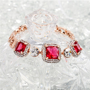 Luxurious Plated Rose Golden Bracelet with White and Rose Red Cubic Zircon