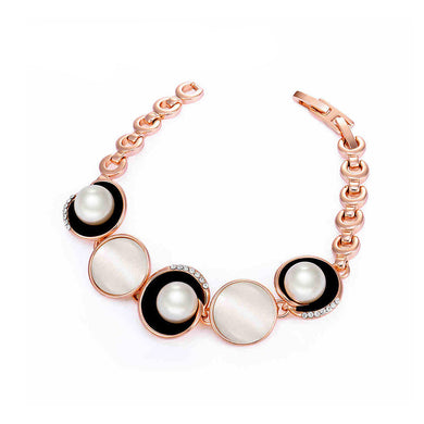 Simple Plated Rose Golden Circle Bracelet with White Austrian Element Crystals