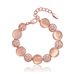 Fashion Lily Bracelet with White Austrian Element Crystal Sand Pink Fashion Cat's Eye