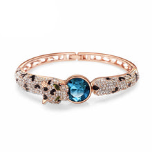 Load image into Gallery viewer, Luxury Cheetah Bang with Blue and White Austrian Element Crystals