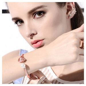 Fashion Plated Rose Golden Helped with White Austrian Element Crystal Sand Fashion Pearls