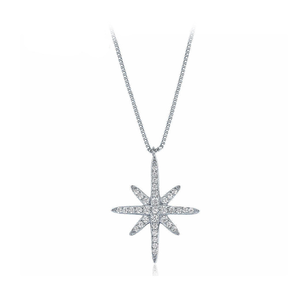 Fashion 925 Silver Star Pendant with White Cubic Zircon and Necklace