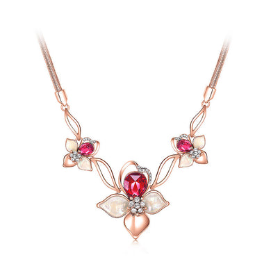 Fashion Cherry Necklace with Rose Red Austrian Element Crystals