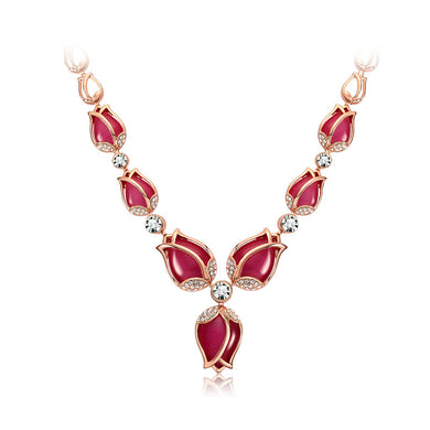 Fashion Tulip Necklace with White Austrian Element Crystals and Rose Red Fashion Cat's Eye