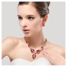 Load image into Gallery viewer, Fashion Tulip Necklace with White Austrian Element Crystals and Rose Red Fashion Cat's Eye