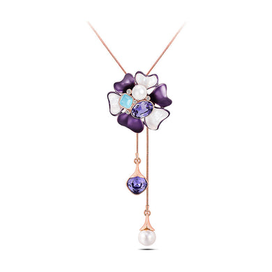 Elegant Flower Tassel Necklace with Purple Austrian Element Crystals