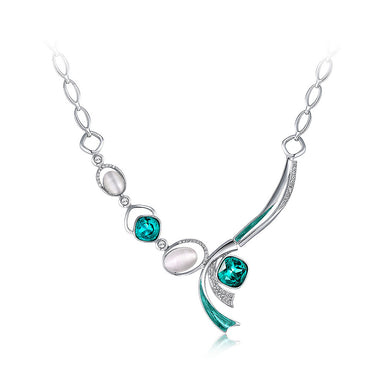 Simple Necklace with Green Cubic Zircon and White Fashion Cat's Eye