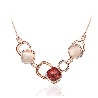 Simple Geometric Necklace with Rose Red Cubic Zircon and Fashion Cat's Eye