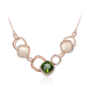 Simple Geometric Necklace with Green Cubic Zircon and Fashion Cat's Eye