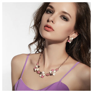 Elegant Plated Rose Gold Flower Necklace with White Austrian Element Crystals