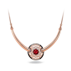 Retro Round Necklace with Red Cubic Zircon