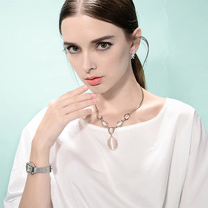 Fashion Oval Necklace with Fashion Cat's Eye and White Austrian Element Crystals