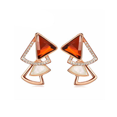Fashion Triangle Earrings with Red Cubic Zircon