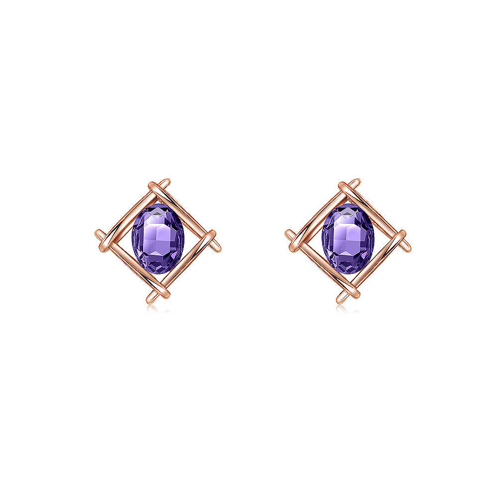 Simple Plated Rose Golden Geometric Stud Earrings with Purple Cubic Zircon