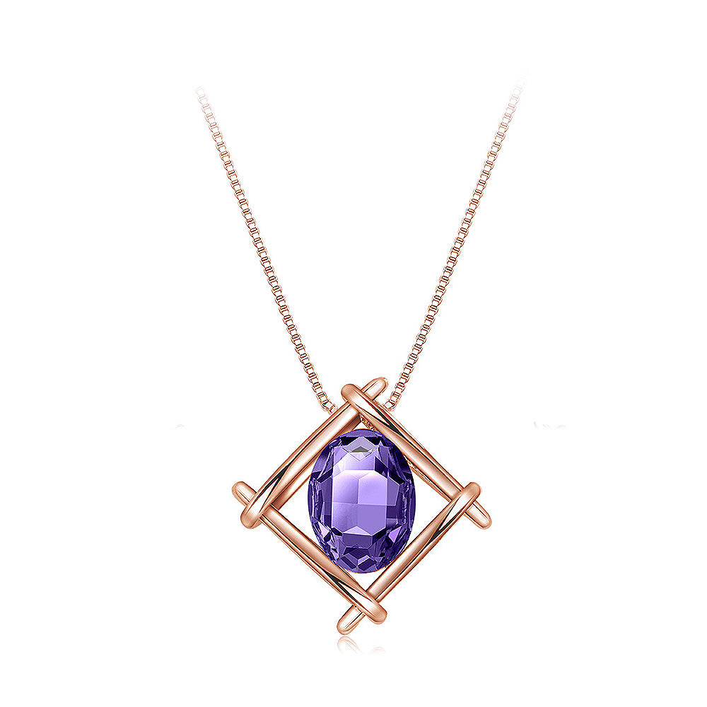 Simple Plated Rose Golden Geometric Pendant with Purple Cubic Zircon and Necklace