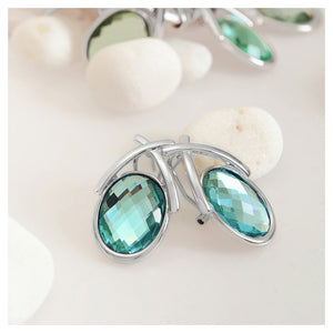 Fashion Oval D Earrings with Green Cubic Zircon
