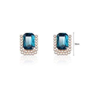 Sparkling Plated Rose Golden Stud Earrings with Blue Cubic Zircon and White Austrian Element Crystals