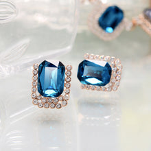 Load image into Gallery viewer, Sparkling Plated Rose Golden Stud Earrings with Blue Cubic Zircon and White Austrian Element Crystals