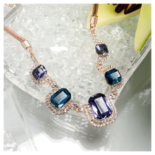 Load image into Gallery viewer, Sparkling Plated Rose Golden Necklace with Blue Cubic Zircon and White Austrian Element Crystals