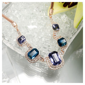 Sparkling Plated Rose Golden Necklace with Blue Cubic Zircon and White Austrian Element Crystals